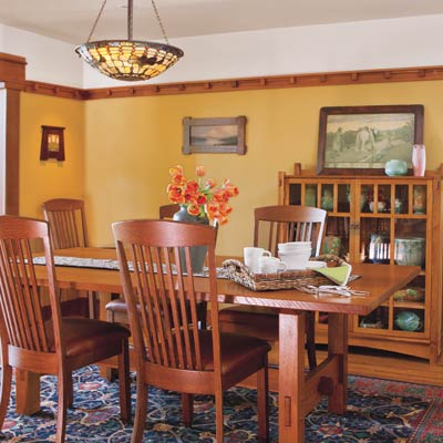 a dining room refurbished with Craftsman-style details