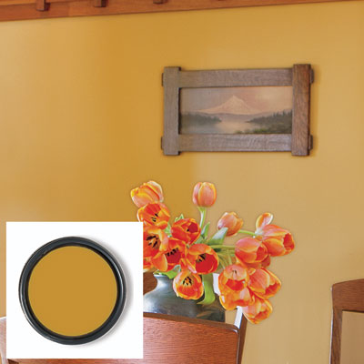 Saffron Thread interior paint from Sherwin-Williams on a dining room wall