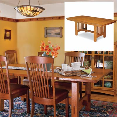 an Amish-built trestle table in a dining room