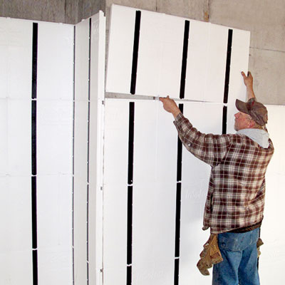 installing interlocking panels in a basement