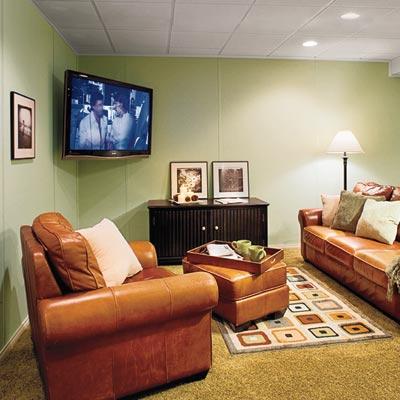 a refinished basement