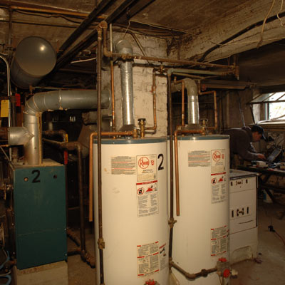 basement water heater in East Boston