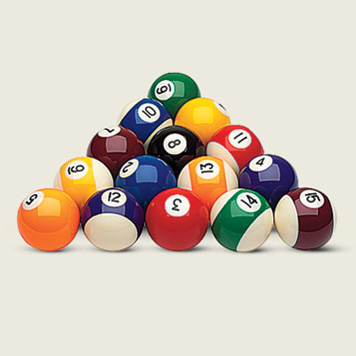 a racked triangle of billiard balls