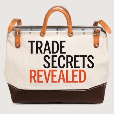 satchel with the words trade secrets revealed on the side