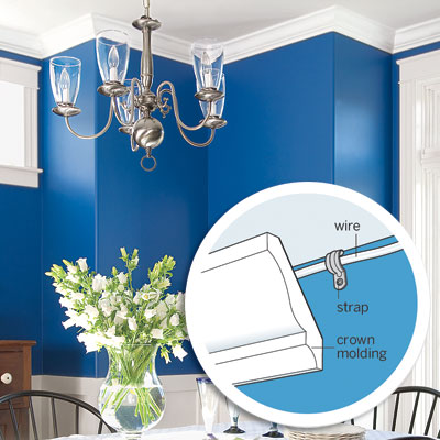 Hide wiring with crown molding as an example of Free or Low-Cost Fix-ups tips