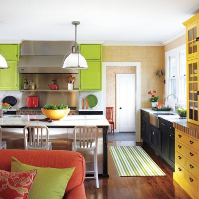 kitchen with green, yellow and black color scheme