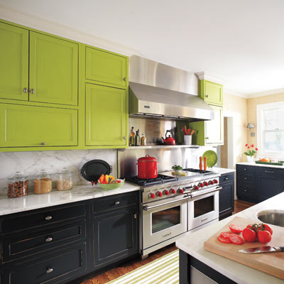 kitchen with green and black cabinets