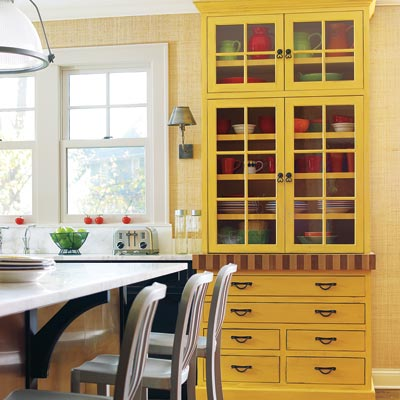 kitchen with yellow hutch