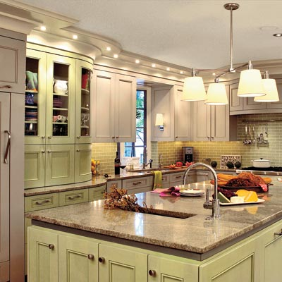 kitchen with sage and gray color scheme
