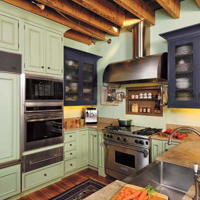 kitchen with plum and mint painted cabinets