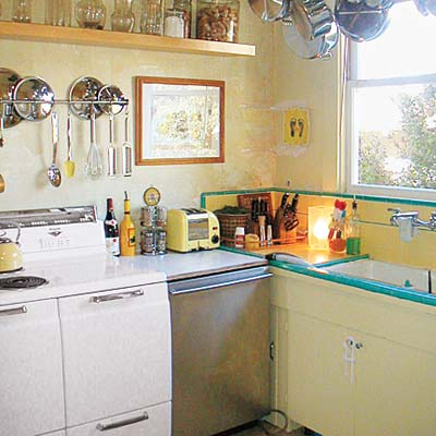 small and cramped vintage kitchen