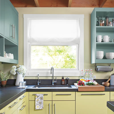 remodeled vintage kitchen with open shelving