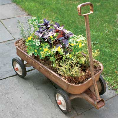 Make a Herb Planter From a Wagon for a great summer projects