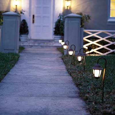 Put Landscape Lighting on Your Front Walkway for a great summer projects