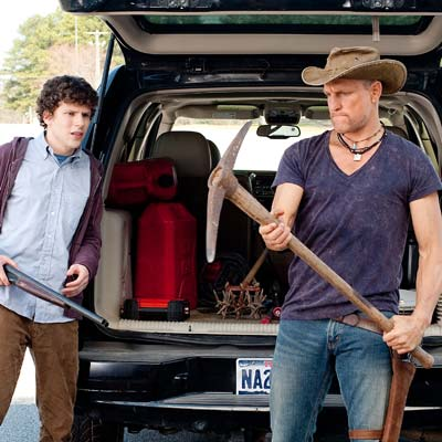 zombieland scene with woody harrelson using pick ax as weapon