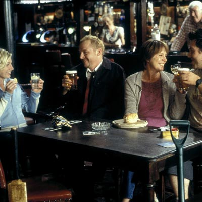 Shaun of the dead scene with characters at pub