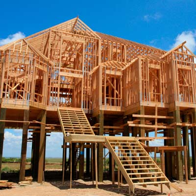 new house construction built on stilts