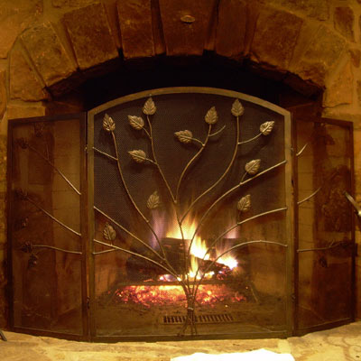 Fireplace with metal gate