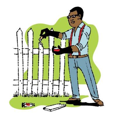 man using wood glue to fix splintered fence picket