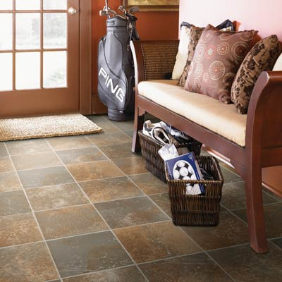 entryway with sheet vinyl flooring