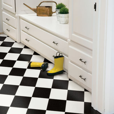 mudroom with VCT tile floor from Mannington