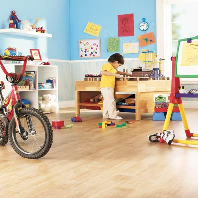 kids room with vinyl flooring