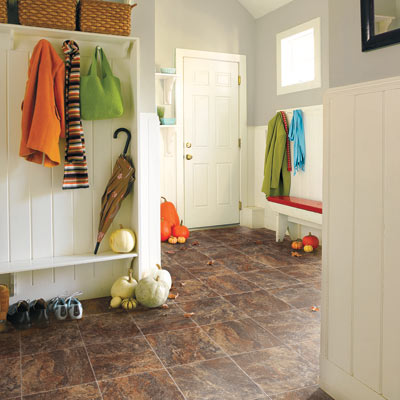 mudroom with vinyl flooring