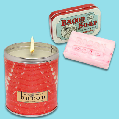think geek bacon candle and soap