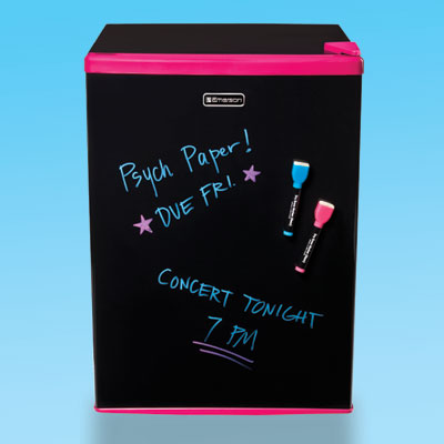 a blackboard-style dry erase mini-fridge with markers