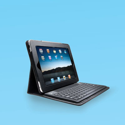 an iPad case with Bluetooth keyboard attached