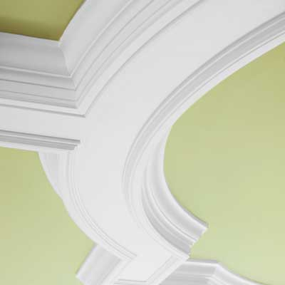 Nursery ceiling with curved crown molding detail
