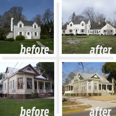 composite of two reader remodel houses before and after