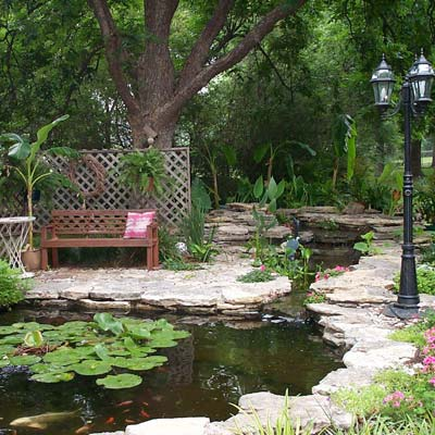 a backyard pond in Wynnewood, OK
