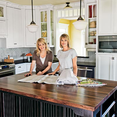 two women in a remodeled kitchen based on a projects in this old house magazines