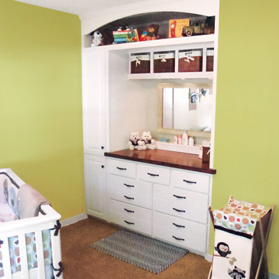 Built-in dresser for nursery