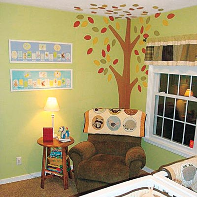 Tree mural in a nursery