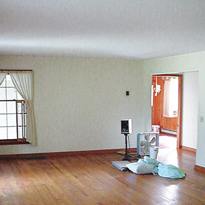 Empty living room before remodel