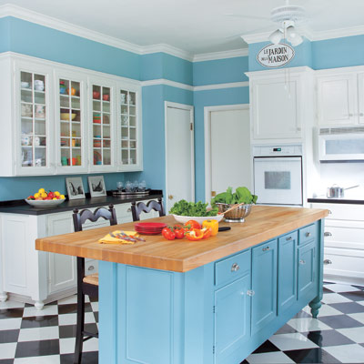 Renovated blue kitchen