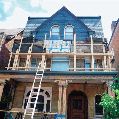 Exterior scaffold of this Pittsburgh home
