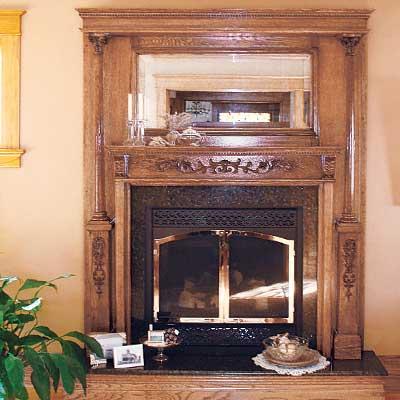 Dean Pederson's restored fireplace mantel