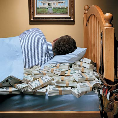 man sleeping with money in bed