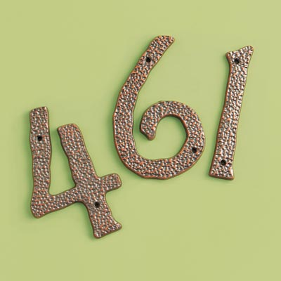 19th Century style hammered copper house numbers