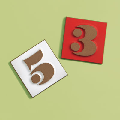 Mid-Century style ceramic house number tiles with Eames numbering