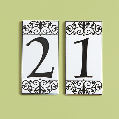 19th Century style glazed ceramic house number tiles