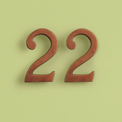 19th Century style solid bronze italic house numbers
