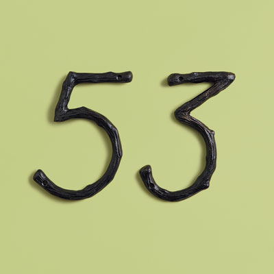 19th Century style aluminum house numbers with twig-like features