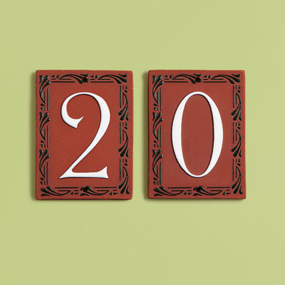 19th Century style terra-cotta house number tiles