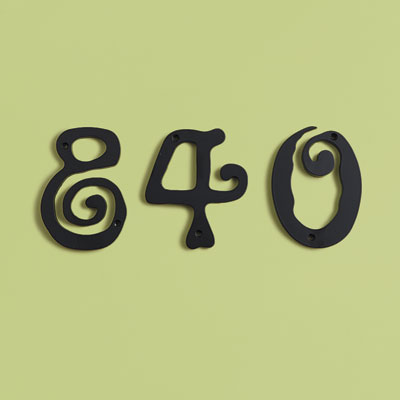 Pre-War style black lacquered zinc house numbers with Art Nouveau design