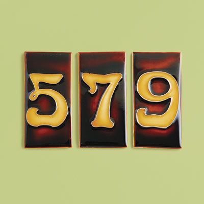 Pre-War style porcelain house number tiles with Nouveau numbers