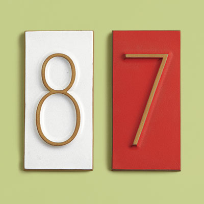 Mid-Century style ceramic house number tiles with modern numbering